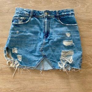 Denim ZARA jean skirt with rips